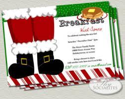 christmas brunch invitation wording breakfast with santa etsy