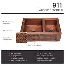Copper Kitchen Sink Reviews by 911 Double Offset Bowl Copper Apron Sink Kitchen Copper Sink