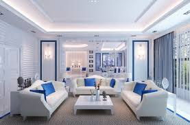 blue and white living room home art interior