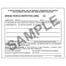 annual vehicle inspection label vinyl w mylar laminate