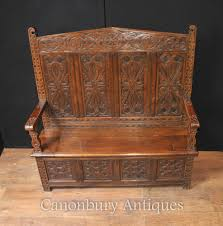 antique 19th century hand carved oak monks bench or settle u003cbr