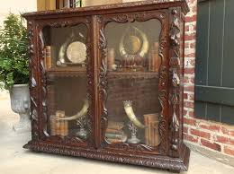 Bookshelves Glass Doors by Large Antique English Carved Oak Bookcase Bookshelf Glass Door