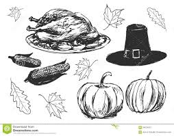 set of sketches on the thanksgiving day stock vector image 59024027