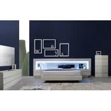 Modern Furniture Bedroom Set by J U0026 M Valencia Platform Bed Led Lights U0026 White Glass Headboard