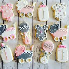 pink and grey baby shower cookies hayley cakes and cookies