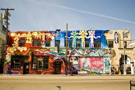 los angeles california pacific buildings graffiti city wallpaper