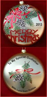 merry to my godfather personalized ornament