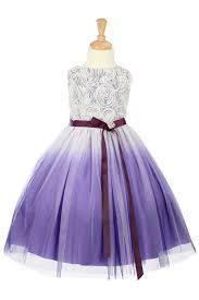 purple rosett detail ombre printed tulle flower dress