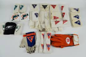 Flag Football Gloves Lot Detail Lot Of 1980 U0027s Used Nfl Football Gloves Wristbands