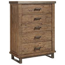Metal And Wood Bedroom Furniture Modern Rustic Solid Wood Five Drawer Chest With Metal Legs And