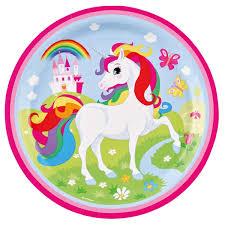 vaisselle jetable fete assiette licorne arc en ciel x8 vaisselle jetable anniversaire fille