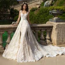 mariage couture luxury mermaid wedding dresses lace with detachable robe de