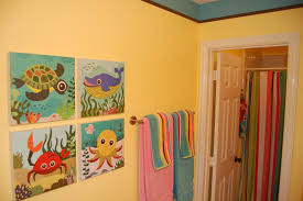 Ideas For Kids Bathroom Soothing Bathroom Color With Colorful Curtain And Funny Under Sea