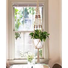 craftionary macrame plant hanger 40 spiral knotted natural white