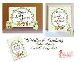 smurfs baby shower invitations woodland creatures baby shower invitations welcome sign buffet