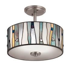 Flush To Ceiling Light Fixtures Portfolio 13 In W Brushed Nickel Clear Glass Style Semi