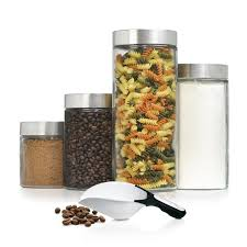glass canister sets for kitchen anchor hocking 4 piece canister set ah4cann clear glass solid