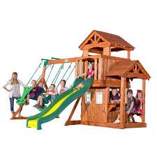 Backyard Cedar Playhouse by Backyard Discovery Tanglewood All Cedar Playset 55010com The