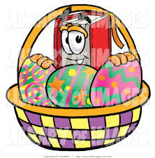 clip art of a red book mascot cartoon character in an easter