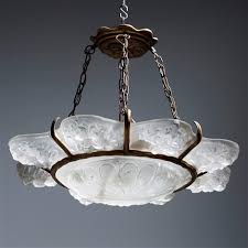 Art Chandelier An Art Deco Moulded Glass And Bronzed Metal Chandelier By Sabino