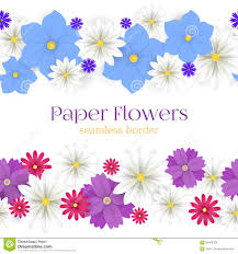Flower Decor Colorful Vector Paper Flowers Horizontal Seamless Borders