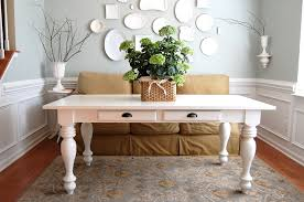 classic white polished farmhouse table with drawers as inspiring