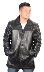 mens black 4 button soft lambskin leather car coat