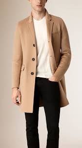 burberry tailored cashmere coat in natural for men lyst