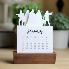 2016 minimalist paper cut desk calendar with solid wood stand
