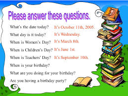 unit 5 what s the date today what day is it today when is s