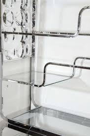 milo baughman chrome room divider with glass shelves nyshowplace