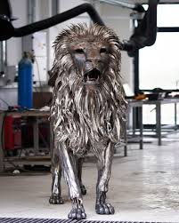 metal lion sculpture highly detailed made metal lion sculpture created out of