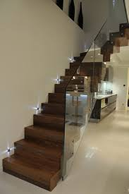 Glass Banister Staircase Wood Cladded Straight Staircase Glass Balustrade Contemporary