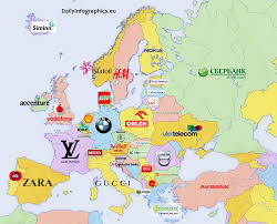 European Countries Map Most Valuable Brands In European Countries