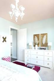 Bedroom Light Blue Walls White And Gold Dresser A Pink Ceiling Beautifully Complements