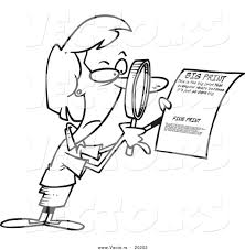 vector of a cartoon businesswoman using a magnifying glass to read