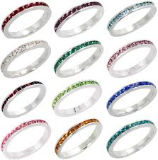 stackable birthstone ring 3mm stackable sterling silver eternity band ring w colored crystals