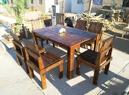 Outdoor Furniture Made From Wood Pallets Wooden Pallet Dining Table And Chairs Set 99 Pallets