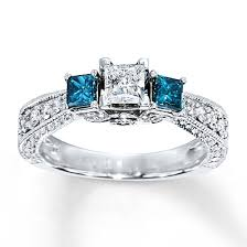 Kay Jewelers Wedding Rings For Her by 1 74 Carat Fancy Blue Diamond Engagement Ring 18k White Gold