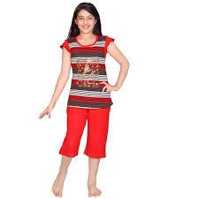 buy designer multicolor striped printed night dress top u0026 capri