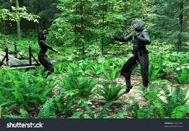 digital render two rogues fighting forest stock illustration