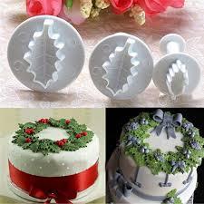 aliexpress com buy 3pcs set christmas rose leaf cake icing