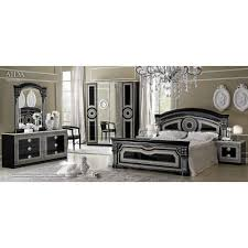 aida traditional bedroom set in black silver bed 2 nightstands