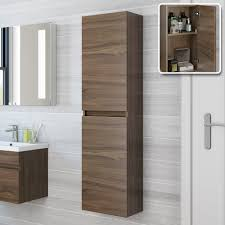 wall hanging bathroom cabinets 1400mm trent walnut effect tall storage cabinet wall hung
