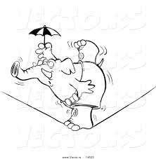 vector of a cartoon elephant balanced on one foot on a tight