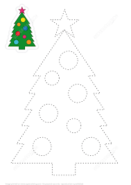 learn to draw christmas tree by restoring dashed lines free