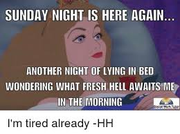 Sunday Night Meme - sunday night is here again another night of lying in bed wondering