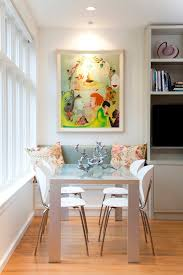 built in dining table frosted glass dining table dining room eclectic with accent lighting