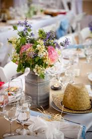 chic wedding flower centerpieces in vintage jars
