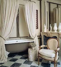 pretty billowy shower curtain french romantic bathroom ideas